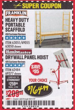Harbor Freight Coupon HEAVY DUTY PORTABLE SCAFFOLD OR DRYWALL PANEL HOIST Lot No. 63051, 69055, 63050,62484,69377 Expired: 8/31/19 - $164.99