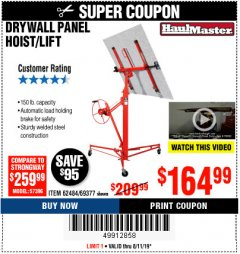 Harbor Freight Coupon HEAVY DUTY PORTABLE SCAFFOLD OR DRYWALL PANEL HOIST Lot No. 63051, 69055, 63050,62484,69377 Expired: 8/11/19 - $164.99