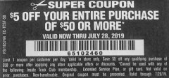 Harbor Freight Coupon $5 OFF $50 Lot No.  62630, 63075,62337, 62469,64497,62896, 63190,63254,69293, 61714 63255 Expired: 7/28/19 - $0