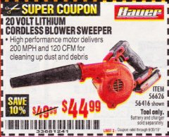 Harbor Freight Coupon BAUER 20 VOLT LITHIUM CORDLESS BLOWER Lot No. 56626/56416 Valid Thru: 9/30/19 - $44.99