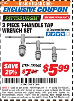Harbor Freight ITC Coupon 3 PIECE T-HANDLE TAP WRENCH SET Lot No. 38560 Expired: 8/31/19 - $5.99