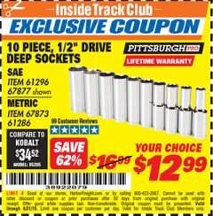 "Harbor Freight ITC Coupon 10 PIECE, 1/2"" DRIVE DEE SOCKETS Lot No. 61296,67877,67873,61286 Expired: 8/31/19 - $12.99"