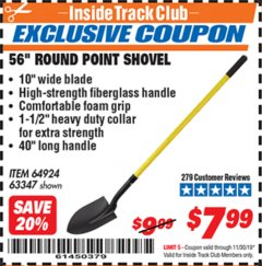 "Harbor Freight ITC Coupon 56"" ROUND POINT SHOVEL Lot No. 64924/63347 Expired: 11/30/19 - $7.99"