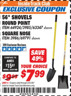 "Harbor Freight ITC Coupon 56"" ROUND POINT SHOVEL Lot No. 64924/63347 Expired: 3/31/20 - $7.99"