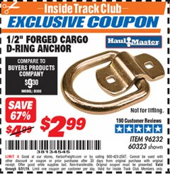 "Harbor Freight ITC Coupon 1/2"" FORGED CARGO D-RING ANCHOR Lot No. 60323 Expired: 8/31/19 - $2.99"