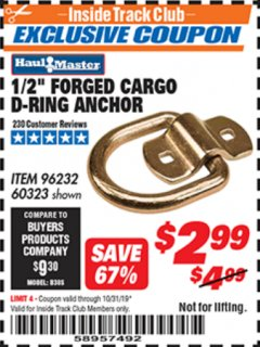 "Harbor Freight ITC Coupon 1/2"" FORGED CARGO D-RING ANCHOR Lot No. 60323 Expired: 10/31/19 - $2.99"