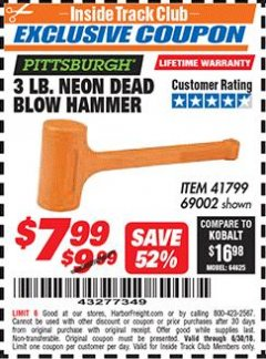 Harbor Freight ITC Coupon 3 LB. NEON DEAD BLOW HAMMER Lot No. 69002/41799 Expired: 6/30/18 - $7.99