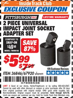 Harbor Freight ITC Coupon 2 PIECE UNIVERSAL IMPACE JOINT SOCKET ADAPTER SET Lot No. 67920 Expired: 8/31/19 - $5.99