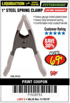 "Harbor Freight Coupon 1"" STEEL SPRING CLAMP Lot No. 39569 Expired: 11/10/19 - $0.69"