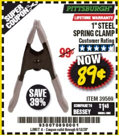 "Harbor Freight Coupon 1"" STEEL SPRING CLAMP Lot No. 39569 Expired: 6/30/20 - $0.89"