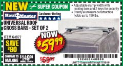 Harbor Freight Coupon UNIVERSAL ROOF CROSS BARS SET OF 2 Lot No. 64877 Valid Thru: 11/30/19 - $59.99