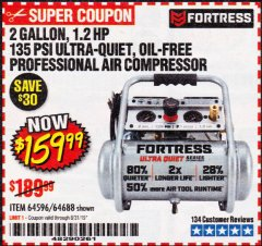 Harbor Freight Coupon 2 GALLON, 1.2 HP, 135 PSI ULTRA-QUIET, OIL-FREE PROFESSIONAL AIR COMPRESSOR Lot No. 64596,64688 Valid Thru: 8/31/19 - $159.99