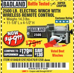 Harbor Freight Coupon 2500 LB ELECTRIC WINCH WITH WIRELESS REMOTE CONTROL Lot No. 68146/61258/61297/61840 Expired: 6/9/18 - $49.99