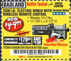 Harbor Freight Coupon 2500 LB ELECTRIC WINCH WITH WIRELESS REMOTE CONTROL Lot No. 68146/61258/61297/61840 Expired: 8/27/18 - $49.99