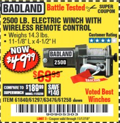 Harbor Freight Coupon 2500 LB ELECTRIC WINCH WITH WIRELESS REMOTE CONTROL Lot No. 68146/61258/61297/61840 Valid Thru: 11/17/18 - $49.99