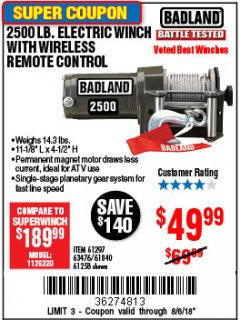 Harbor Freight Coupon 2500 LB ELECTRIC WINCH WITH WIRELESS REMOTE CONTROL Lot No. 68146/61258/61297/61840 Expired: 8/6/18 - $49.99