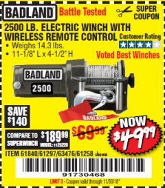 Harbor Freight Coupon 2500 LB ELECTRIC WINCH WITH WIRELESS REMOTE CONTROL Lot No. 68146/61258/61297/61840 Valid Thru: 11/30/18 - $49.99
