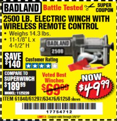 Harbor Freight Coupon 2500 LB ELECTRIC WINCH WITH WIRELESS REMOTE CONTROL Lot No. 68146/61258/61297/61840 Valid Thru: 2/8/19 - $49.99
