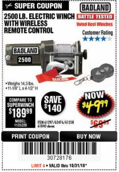 Harbor Freight Coupon 2500 LB ELECTRIC WINCH WITH WIRELESS REMOTE CONTROL Lot No. 68146/61258/61297/61840 Valid Thru: 10/31/18 - $49.99