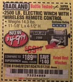 Harbor Freight Coupon 2500 LB ELECTRIC WINCH WITH WIRELESS REMOTE CONTROL Lot No. 68146/61258/61297/61840 Valid Thru: 2/5/19 - $49.99