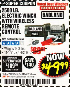 Harbor Freight Coupon 2500 LB ELECTRIC WINCH WITH WIRELESS REMOTE CONTROL Lot No. 68146/61258/61297/61840 Expired: 11/30/18 - $49.99