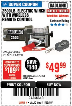 Harbor Freight Coupon 2500 LB ELECTRIC WINCH WITH WIRELESS REMOTE CONTROL Lot No. 68146/61258/61297/61840 Expired: 11/25/18 - $49.99