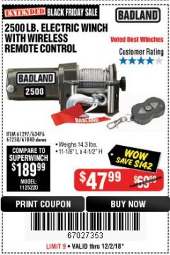 Harbor Freight Coupon 2500 LB ELECTRIC WINCH WITH WIRELESS REMOTE CONTROL Lot No. 68146/61258/61297/61840 Expired: 12/2/18 - $47.99