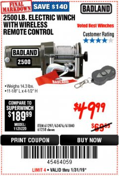 Harbor Freight Coupon 2500 LB ELECTRIC WINCH WITH WIRELESS REMOTE CONTROL Lot No. 68146/61258/61297/61840 Expired: 1/31/19 - $49.99