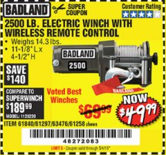 Harbor Freight Coupon 2500 LB ELECTRIC WINCH WITH WIRELESS REMOTE CONTROL Lot No. 68146/61258/61297/61840 Valid Thru: 5/4/19 - $49.99