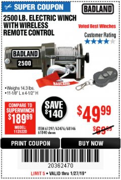 Harbor Freight Coupon 2500 LB ELECTRIC WINCH WITH WIRELESS REMOTE CONTROL Lot No. 68146/61258/61297/61840 Expired: 1/27/19 - $49.99