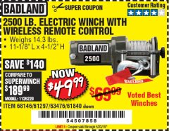 Harbor Freight Coupon 2500 LB ELECTRIC WINCH WITH WIRELESS REMOTE CONTROL Lot No. 68146/61258/61297/61840 Valid Thru: 2/28/19 - $49.99