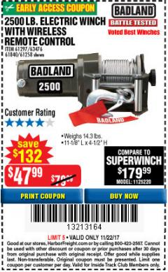 Harbor Freight Coupon 2500 LB ELECTRIC WINCH WITH WIRELESS REMOTE CONTROL Lot No. 68146/61258/61297/61840 Expired: 11/22/17 - $47.99