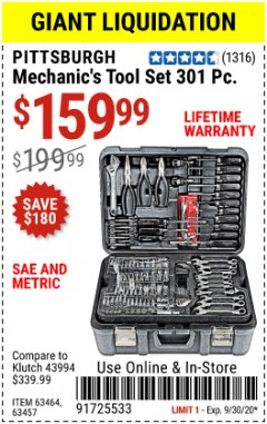 Harbor Freight Coupon 301 PIECE MECHANIC TOOL SET Lot No. 63464 Valid Thru: 9/30/20 - $1599.99