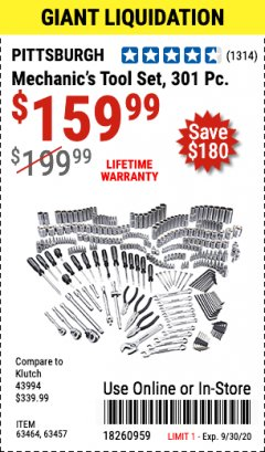 Harbor Freight Coupon 301 PIECE MECHANIC TOOL SET Lot No. 63464 Valid: 9/1/20 - 9/30/20 - $159.99