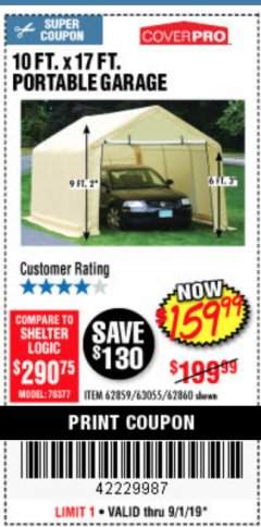Harbor Freight Coupon COVERPRO 10 FT. X 17 FT. PORTABLE GARAGE Lot No. 62859, 63055, 62860 Expired: 9/1/19 - $159.99