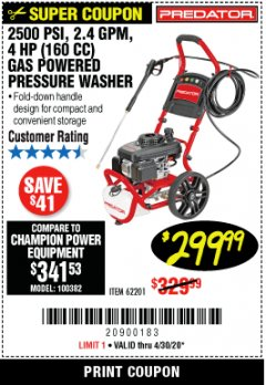 Harbor Freight Coupon 2500 PSI, 1.4 GPM 4 HP (160CC) GAS PRESSURE WASHER Lot No. 100382 Expired: 6/30/20 - $299.99