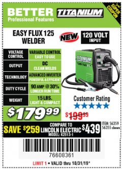 Harbor Freight Coupon TITANIUM EASY-FLUX 125 WELDER Lot No. 56359/56355 Expired: 10/31/19 - $179.99