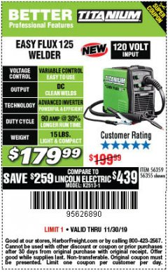Harbor Freight Coupon TITANIUM EASY-FLUX 125 WELDER Lot No. 56359/56355 Expired: 11/30/19 - $179.99