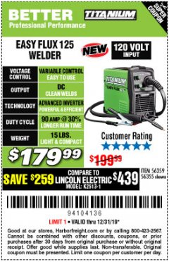 Harbor Freight Coupon TITANIUM EASY-FLUX 125 WELDER Lot No. 56359/56355 Expired: 12/31/19 - $179.99