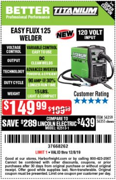 Harbor Freight Coupon TITANIUM EASY-FLUX 125 WELDER Lot No. 56359/56355 Expired: 12/8/19 - $149.99