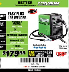 Harbor Freight Coupon TITANIUM EASY-FLUX 125 WELDER Lot No. 56359/56355 Expired: 12/22/19 - $179.99