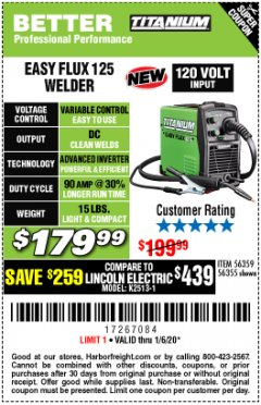 Harbor Freight Coupon TITANIUM EASY-FLUX 125 WELDER Lot No. 56359/56355 Expired: 1/6/20 - $179.99