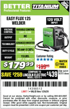 Harbor Freight Coupon TITANIUM EASY-FLUX 125 WELDER Lot No. 56359/56355 Expired: 1/26/20 - $179.99