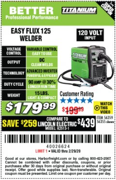 Harbor Freight Coupon TITANIUM EASY-FLUX 125 WELDER Lot No. 56359/56355 Expired: 2/29/20 - $179.99