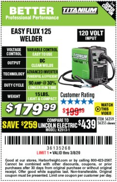 Harbor Freight Coupon TITANIUM EASY-FLUX 125 WELDER Lot No. 56359/56355 Expired: 2/8/20 - $179.99