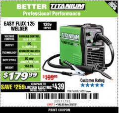 Harbor Freight Coupon TITANIUM EASY-FLUX 125 WELDER Lot No. 56359/56355 Expired: 3/31/20 - $179.99