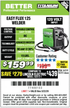 Harbor Freight Coupon TITANIUM EASY-FLUX 125 WELDER Lot No. 56359/56355 Expired: 3/22/20 - $159.99