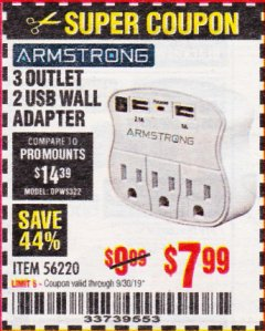Harbor Freight Coupon 3 OUTLET 2 USB WALL ADAPTER Lot No. 56220 Valid Thru: 9/30/19 - $7.99