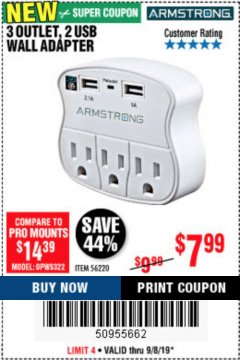 Harbor Freight Coupon 3 OUTLET 2 USB WALL ADAPTER Lot No. 56220 Expired: 9/8/19 - $7.99