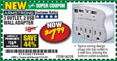 Harbor Freight Coupon 3 OUTLET 2 USB WALL ADAPTER Lot No. 56220 Expired: 12/14/19 - $7.99